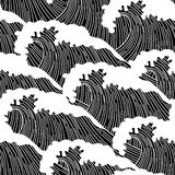Sea seamless pattern with abstract  hand drawn waves. Background for textile printing and wrapping paper Stock Image