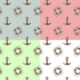 Sea seamless pattern with anchors and lifebuoys Royalty Free Stock Photo