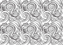Sea Seamless Pattern Black And White Wave Adult Coloring Pages