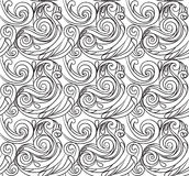 Sea seamless pattern, black and white wave . Adult Coloring pages Royalty Free Stock Images