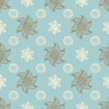 Sea seamless pattern blue background. Vector illustration Abstract sea hand drawn Stock Photography
