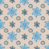 Sea seamless pattern blue background. Stock Photos