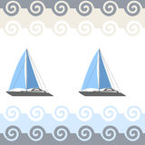 Sea seamless pattern with boat. Vector illustration Stock Photos