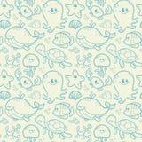 Sea seamless pattern Stock Photos
