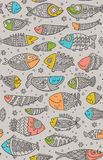Sea seamless pattern with decorative fish in childish style Stock Photography