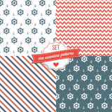 4 sea seamless pattern. eps 10. Nautical Navy Blue, Red and White Chevron, Anchors and ship wheels Seamless Patterns. eps 10 Royalty Free Stock Photo