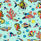 Sea seamless. Pattern with fish starfish and corals in blue Stock Photos