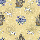 Sea seamless pattern with gulls and ships on yellow background Royalty Free Stock Images