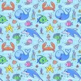 Sea seamless pattern. Stock Image