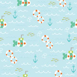 Sea seamless pattern with lifebuoy, submarine, anchor and fish Royalty Free Stock Photography
