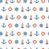 Sea seamless pattern with lighthouse. Sea seamless patterns.Red, blue, white colors.Seamless pattern included in swatch panel.Design for fabric, web background Stock Photos