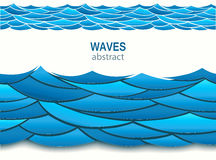 Sea seamless pattern with paper blue waves. 3d vector. Pasteboard art style Stock Images