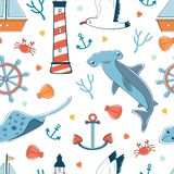 Sea seamless pattern Stock Photos