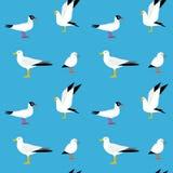 Sea seamless pattern. Seamless texture with flying seagulls. Cartoon atlantic seabird, seagulls flying in blue sky vector set Stock Image