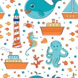 Sea seamless pattern Stock Photography