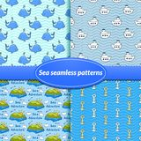 For sea seamless patterns. In cartoon style Royalty Free Stock Photography