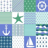 Sea seamless patterns, nautical design, marine elements. And vector illustration Stock Photos