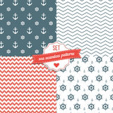 Sea Seamless Patterns. Nautical Navy Blue, Red and White Chevron, Anchors and ship wheels Seamless Patterns Stock Images