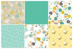 Sea seamless patterns set. Vector set of sea seamless patterns. Underwater world, multicolored shells, corals and seaweeds on the ocean floor. For wallpaper Royalty Free Stock Image