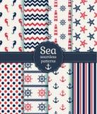 Sea Seamless Patterns. Vector Collection. Stock Photos