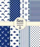 Sea seamless patterns. Vector collection. Set of sea and nautical seamless patterns in white and dark blue colors. Vector illustration Royalty Free Stock Image