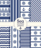 Sea seamless patterns. Vector collection. Set of sea and nautical seamless patterns in white and navy blue colors. Vector illustration Stock Photos