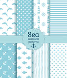 Sea seamless patterns. Vector collection. Set of sea and nautical seamless patterns in white and pale blue colors. Vector illustration Royalty Free Stock Photos