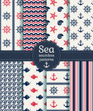 Sea seamless patterns. Vector collection. Set of sea and nautical seamless patterns in white, pink and dark blue colors. Vector illustration Royalty Free Stock Image