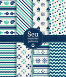Sea seamless patterns. Vector collection. Set of sea and nautical seamless patterns in white, turquoise and dark blue colors. Vector illustration Stock Photography