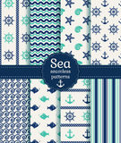Sea seamless patterns. Vector collection. Set of sea and nautical seamless patterns in white, turquoise and dark blue colors. Vector illustration Stock Images