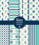 Sea seamless patterns. Vector collection. Set of sea and nautical seamless patterns in white, turquoise and dark blue colors. Vector illustration Stock Photo