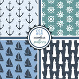 Sea seamless patterns vector set. Sea seamless patterns vector collection Royalty Free Stock Images