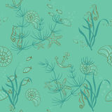 Sea seamless pattern Stock Images