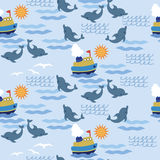 Sea seampless pattern children. Ellement for design, walpaper, pattern. background Royalty Free Stock Photos