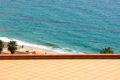 Sea is seen from the balcony Royalty Free Stock Image