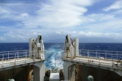 The sea seen from a ferry ship, Japan stock photos
