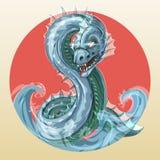 Sea serpent or water dragon. Abaia - fantastic fierce sea serpent or ocean dragon, symbol of water in japanese stylen Stock Photos
