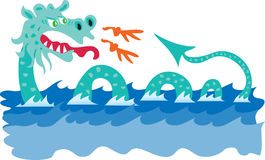 Sea serpent. A cartoon scary sea serpent Royalty Free Stock Photography