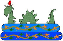 Sea serpent in a kiddie pool. This illustration depicts a green sea serpent swimming in a kiddie pool Royalty Free Stock Photos