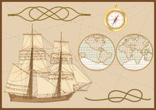 Sea set. Set of sea elements: tall ship, sea knots ( hawser bend and figure of eight knot),  compass and sea chart Stock Images