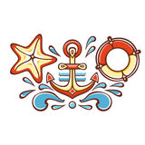 Sea set. Anchor, Lifebuoy, Starfish. Cheerful colorful style. Linear pattern on a white background. Line drawing festive. Vector drawing Stock Image