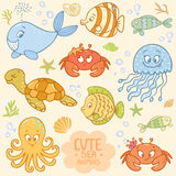 Sea set animals Stock Image