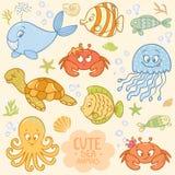 Sea set animals. Beautiful vector collection with cute cartoon marine animals Stock Image
