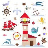 Sea set, birds and fish, red lighthouse and sails royalty free illustration