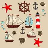 Sea set. cartoon illustration for children`s greeting card design, fabric and wallpaper. vector illustration