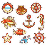 Sea set. Fish, starfish, seahorse, steering wheel, compass, life buoy, waves, anchor, shell. Cheerful colorful style. Linear pattern on a white background Royalty Free Stock Image