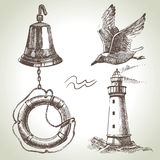 Sea set of nautical design elements. Hand drawn illustrations Royalty Free Stock Photography