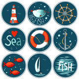 Sea set of 9 nautical elements in a circle shape Royalty Free Stock Photos