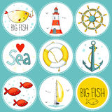 Sea set of 9 nautical elements in a circle shape vector illustration