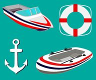 Sea set with sailing boats, anchor, lifebuoy. Inflatable boat and motor boat. Vector illustration. royalty free illustration